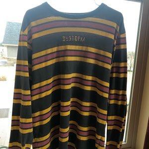 "Long sleeve pacsun ""dystopia"" striped shirt"